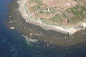 Megalithic site of Er Lannic Island Morbihan France ; Double Cromlech: double circle of standing stones, half submerged