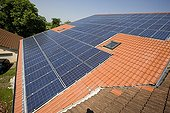 Photovoltaic panels on the roof of a farm building