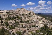 Village of Gordes in the Luberon Park Provence France ; Ranked among the most beautiful villages of France.