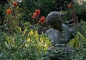 Canna et statue au jardin de la Serre de la Madone