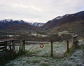 Valley and pens to protect flocks PyreneesFrance ; Area where reintroduced female Bear Melba was shot by a hunter in september 1997, leaving two bear cubs born during the preceding winter