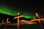 Cemetery Ittoqqorttoormiit and Northern Lights Greenland