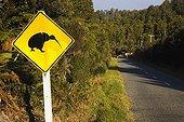 Kiwi sign on road to Okarito New Zealand