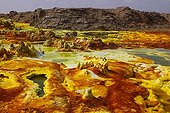 Concretions colored by sulfur Volcano Dallol Ethiopia
