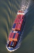 Container-ships sailing down the Seine Normandy France
