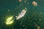 Woman in Jellyfish Lake Palau Micronesia