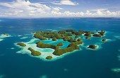 Aerial view of Rock Islands Palau Micronesia
