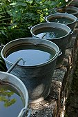 Chain buckets filled with water in the Garden of Paradise Tarn