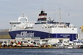 Ferry in the sea port of Nantes Saint-Nazaire France  ; Ferry carrying elements of the Airbus A 380