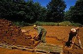 Harvesting of red ocher in Rustrel in Vaucluse France