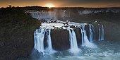 Sunset over the Iguazu-Iguasu falls from the Brasilian side