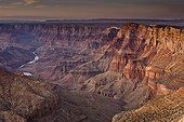 Sunset in Grand Canyon Arizona USA ; Navajo point at dusk with colorado river in the background