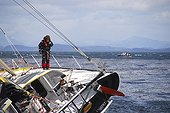 Skipper Bernard Stamm in the Vendée Globe 2008 ; Boat aground on the rocks while attempting to dock at the base of the Kerguelen Islands in a storm