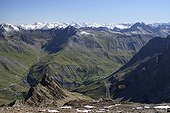 Cable Glacier Meije in Briançonnais France ; The departure at La Grave  and arrival at the Pass Ruillans to 3211m