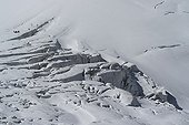 Group of climbers on the glacier serac Girose France
