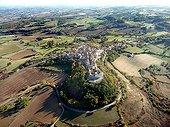 Aerial View of Castelnau-de-Montmiral village of Tarn France