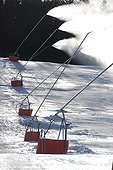 Snowmaking on a ski slope The Fourgs Doubs France