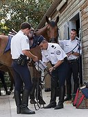 Police put a visor on a horse French Mounted Police