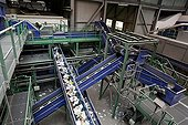 Paper on a treadmill in a sorting center in France ; Company Haganis