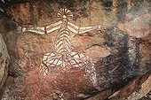 Rock painting in Kakadu NP Australia ; Australia Nabulwinjbulwinj is considered as a dangerous spirit eating females after having killed them by striking them in yam
