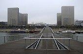 Simone de Beauvoir footbridge over the Seine Paris ; The footbridge joins the National Library of France