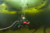 Scuba diving under the ice White Sea Karelia Russia