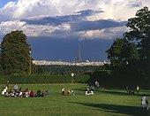 View on Paris from Jardin des Tourneroches at Saint-Cloud