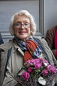 """Micheline Presle the party plants Roche-Guyon France ; Micheline Presle is the godmother of the Rose """"La Roche-Guyon"""" to the party to plants """"Plants, Pleasures, Passions."""""""