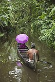 Indian man and woman on wooden canoe India ; Man rowing India tourist woman with bright purple and green<br>sari on a wooden canoe along the beautiful scenic backwater canals. The Kerala backwaters are a chain of lagoons and lakes which are found in southern India. The backwaters consist of five large lakes linked by canals, which are manmade and fed by 38 rivers, They extend virtually half the length of the Kerala state. It is a very popular tourist sight seeing activity