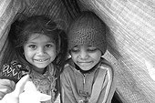 Street girl and boy in a tent Kathmandu Nepal