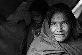 Portrait of woman wrapped in a shawl Kathmandu Nepal