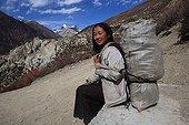 Portrait of a young girl carrying Gunsang Nepal Himalayas