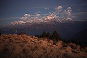 Landscape of mountains at dusk Nepal Himalayas