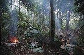 Hunting camp of a group of Pygmies Baaka Cameroon