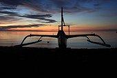 Trimaran silhouette at sunset Bali Lovinabeach