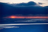 Sunrise on the ice of Baffin Bay Canada