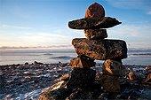 Cairn Inukshuk Frobisher bay Baffin Island Canada