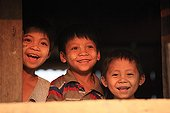 Children watching the sunset in Burma