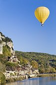 Ballooning above La Roque-Gageac France ; La Roque-Gageac is a village classified most beautiful village in France
