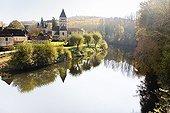 St. Leon sur Vézère beside the river France ; Village ranked among the most beautiful villages in France.