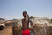Samburu man with mobile phone Samburu NR Kenya
