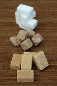 Pieces of White Sugar Brown Sugar Cane