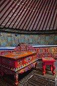 Intérieur  d'une yourte mongole ; Association Transhumances