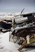 Car cemetery Frobisher Bay Baffin Island Canada