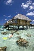 Lagoon and bungalows of Manihi Pearl Beach Resort Tuamotu