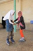 Children dancing with rollerblades at Chak Chak in Iran