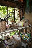 Interior of a garden shed