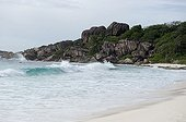 Beach and rocks of Petite Anse on the island La Digue