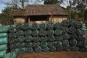 Storage charcoal along a road Laos