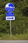 Sign for the road in case of evacuation Canada
